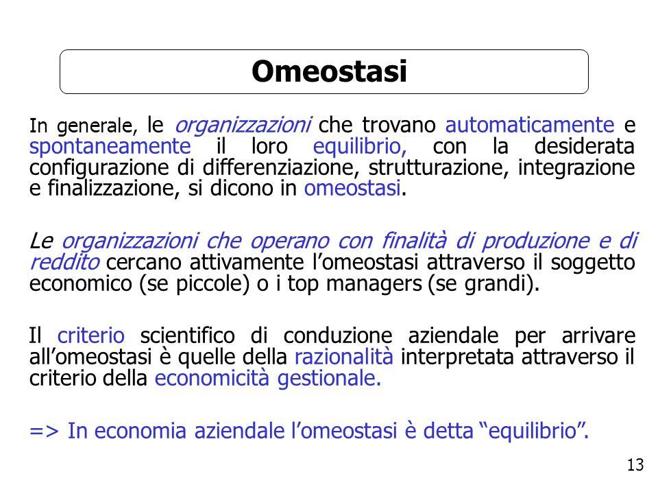 13 Omeostasi In generale, le organizzazioni che trovano automaticamente e spontaneamente il loro equilibrio, con la desiderata configurazione di diffe