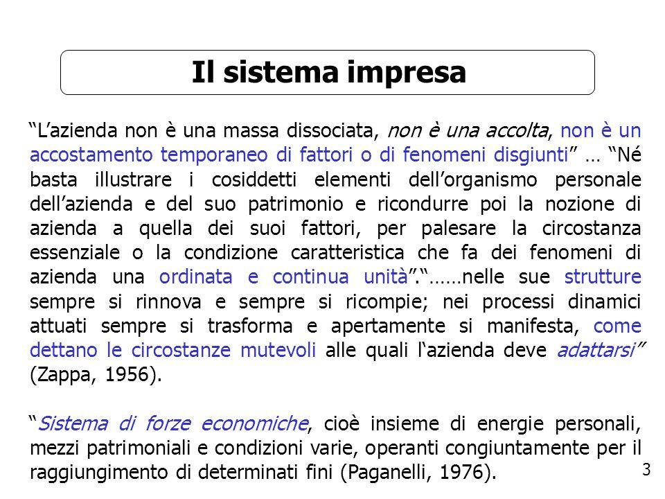 3 Il sistema impresa Lazienda non è una massa dissociata, non è una accolta, non è un accostamento temporaneo di fattori o di fenomeni disgiunti … Né