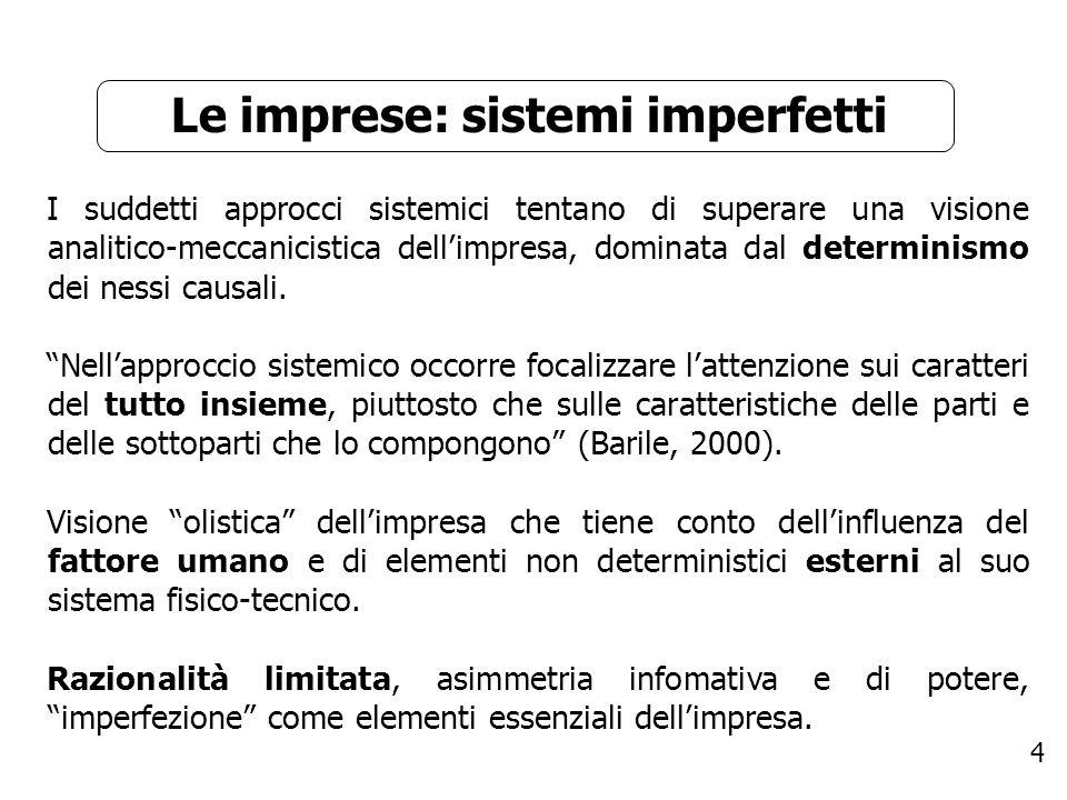 15 Equilibrio Se le condizioni di sistematicità sono tutte verificate si parla di impresa che diventa sistema, se manca solo lequilibrio si parla di pseudo-impresa (Fazzi, 1982).