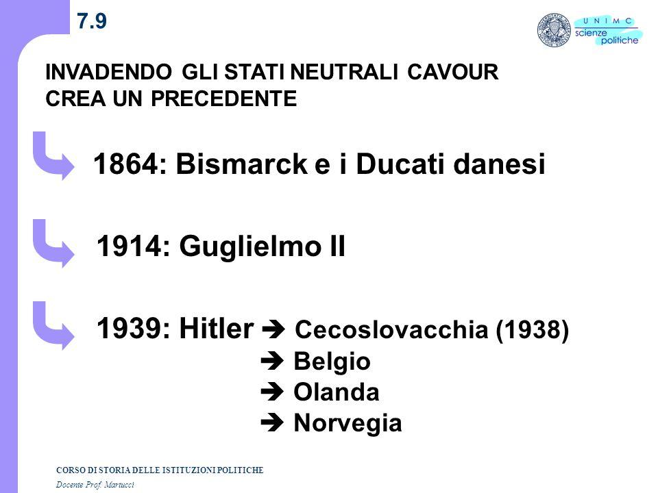 CORSO DI STORIA DELLE ISTITUZIONI POLITICHE Docente Prof. Martucci 7.8 Gli Stati italiani annessi nel 1859-60 sono neutrali indipendenza garantita dai