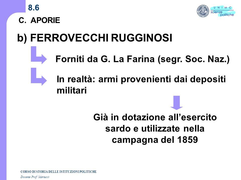 CORSO DI STORIA DELLE ISTITUZIONI POLITICHE Docente Prof. Martucci 8.5 C. APORIE SUDAMERICA GUERRA ITALIANA 1848- 49 1859 a) VOLONTARI GARIBALDINI GUE