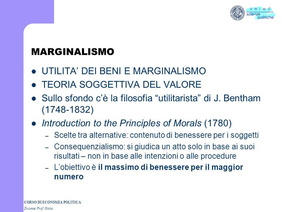 CORSO DI STORIA DEL PENSIERO ECONOMICO Docente Prof. GIOIA II SEMESTRE II Parte A.A. 2006-2007