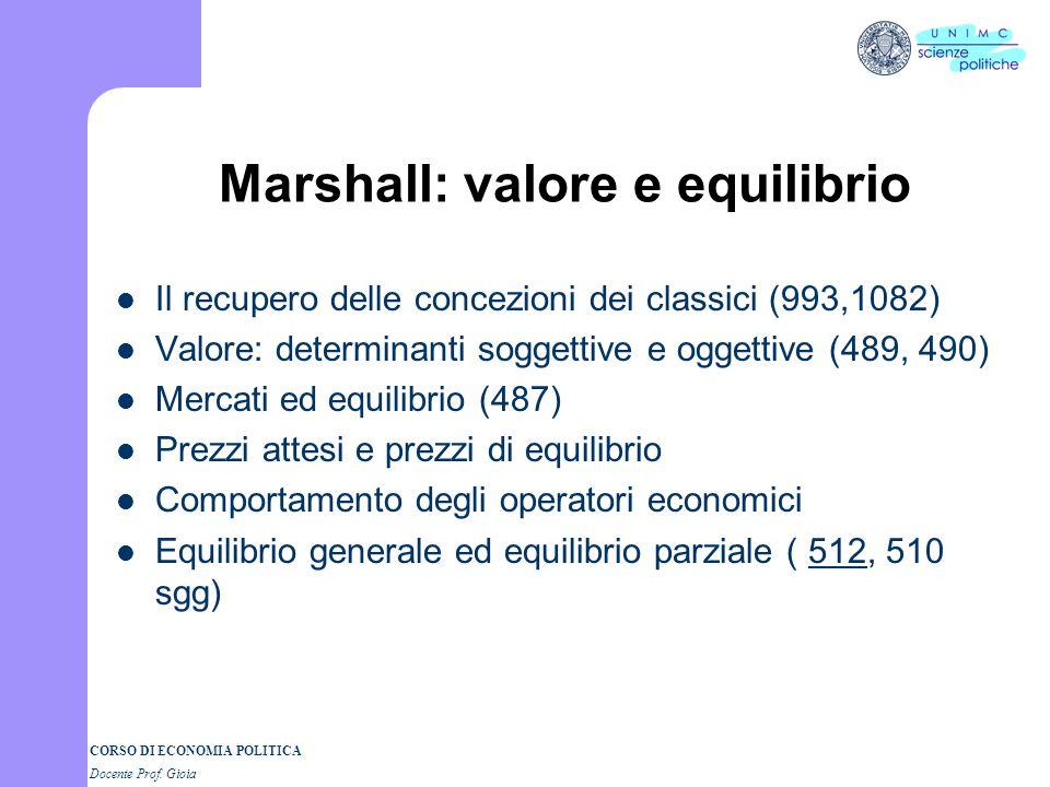 CORSO DI ECONOMIA POLITICA Docente Prof. Gioia Alfred Marshall Principi di Economia (1890) La scienza economica e luomo della city: leconomia è uno st