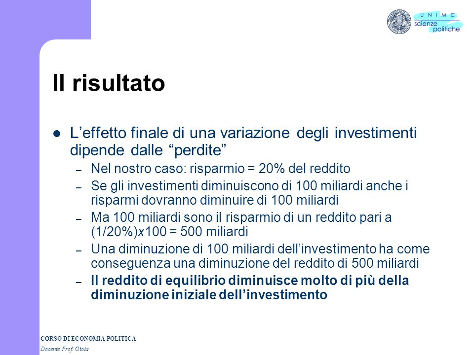 CORSO DI ECONOMIA POLITICA Docente Prof. Gioia Leffetto moltiplicatore Le spese per investimento sono soggette ad ampie e non prevedibili fluttuazioni