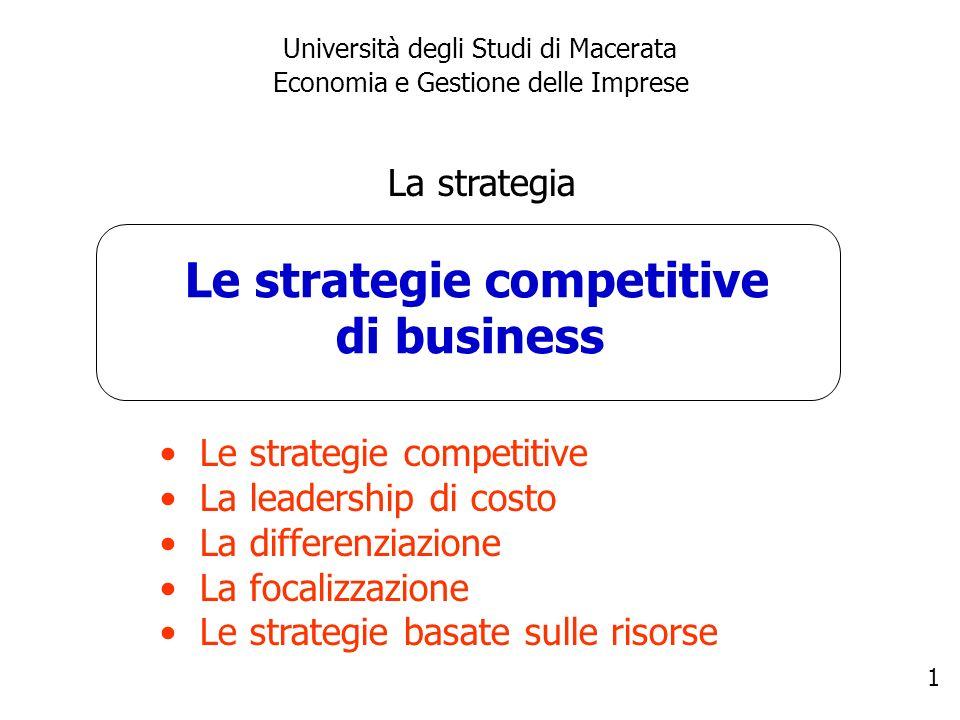 1 Le strategie competitive di business Università degli Studi di Macerata Economia e Gestione delle Imprese La strategia Le strategie competitive La l