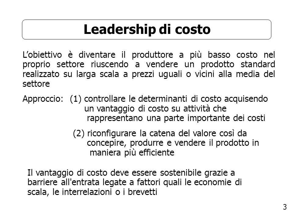 3 Leadership di costo Lobiettivo è diventare il produttore a più basso costo nel proprio settore riuscendo a vendere un prodotto standard realizzato s