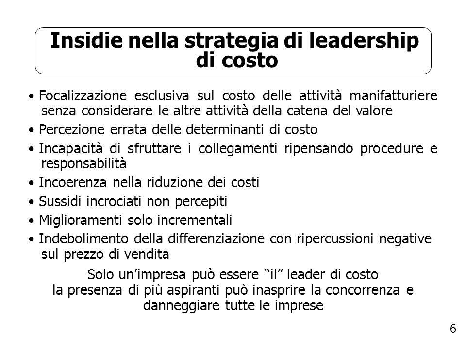 6 Insidie nella strategia di leadership di costo Focalizzazione esclusiva sul costo delle attività manifatturiere senza considerare le altre attività