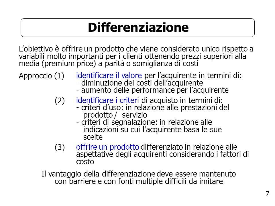 7 Differenziazione Lobiettivo è offrire un prodotto che viene considerato unico rispetto a variabili molto importanti per i clienti ottenendo prezzi s