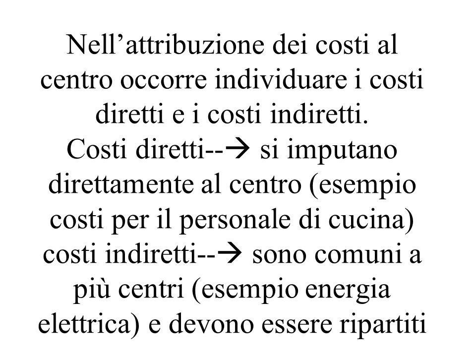 Nellattribuzione dei costi al centro occorre individuare i costi diretti e i costi indiretti.