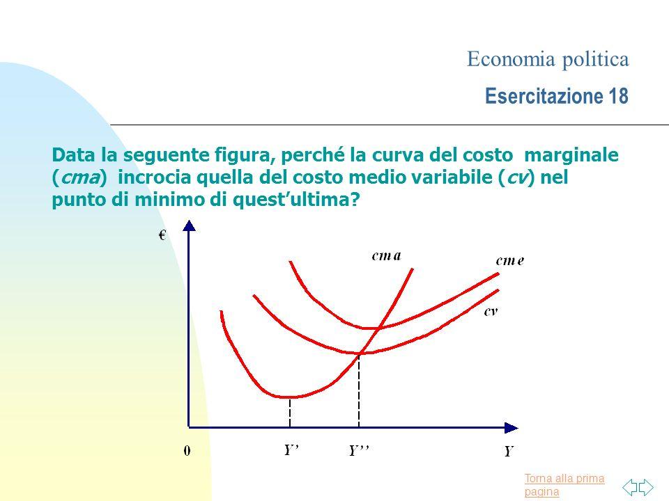 Torna alla prima pagina Economia politica Esercitazione 18 Data la seguente figura, perché la curva del costo marginale (cma) incrocia quella del cost