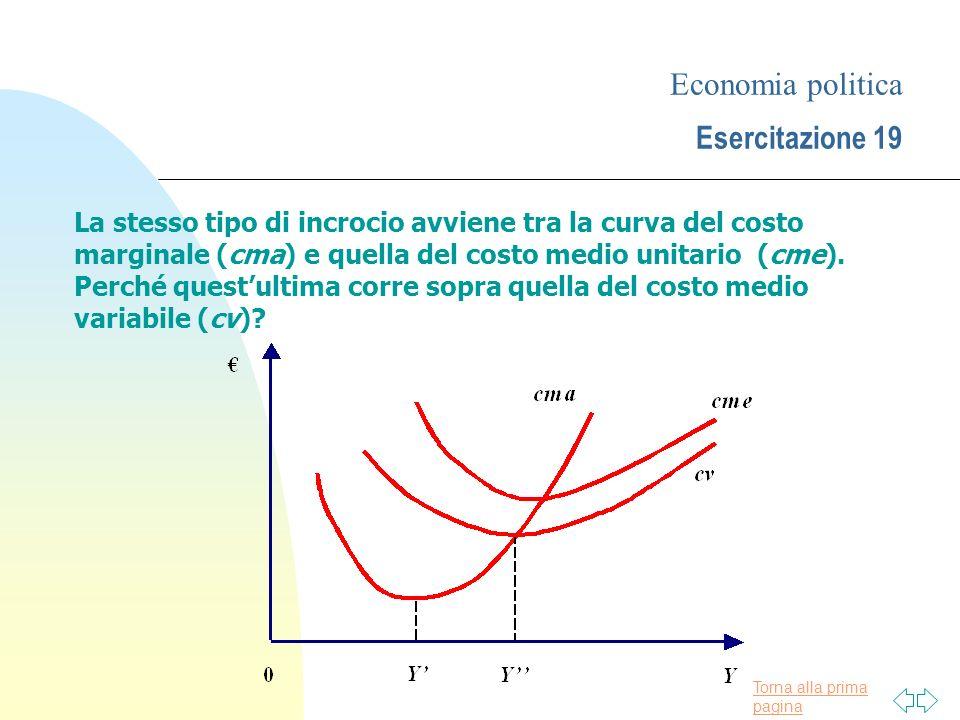 Torna alla prima pagina Economia politica Esercitazione 19 Il cme è uguale alla somma dei costi medi fissi e dei costi medi variabili.