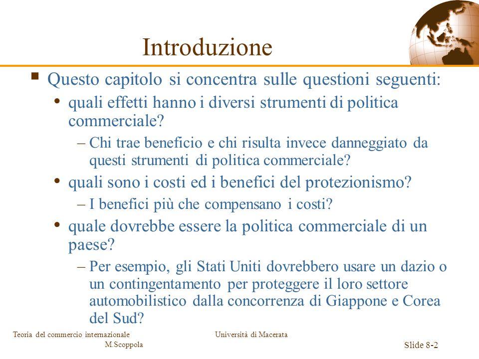 Università di Macerata Slide 8-2 Teoria del commercio internazionale M.Scoppola Introduzione Questo capitolo si concentra sulle questioni seguenti: qu