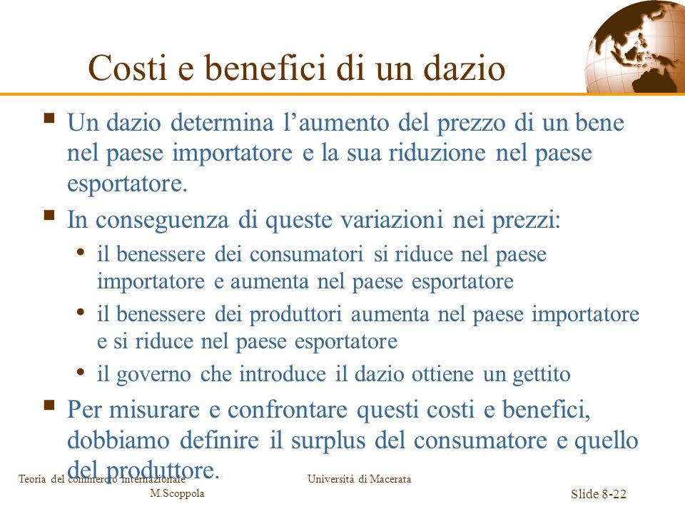 Università di Macerata Slide 8-22 Teoria del commercio internazionale M.Scoppola Costi e benefici di un dazio Un dazio determina laumento del prezzo d