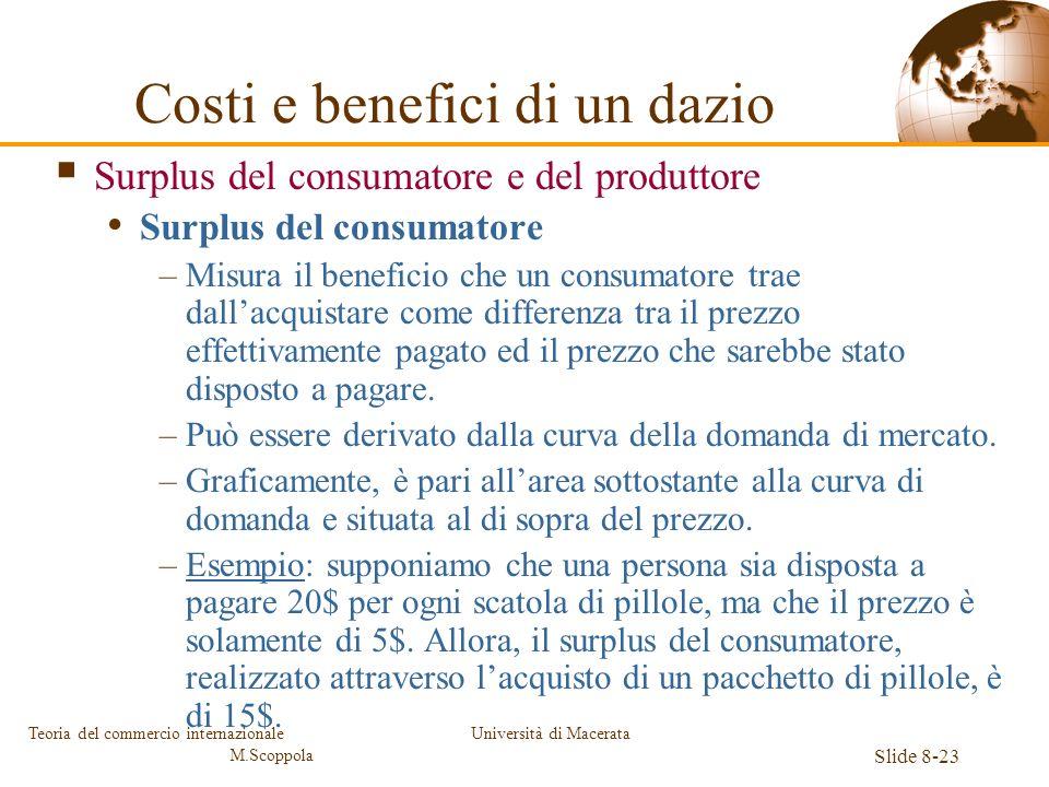 Università di Macerata Slide 8-23 Teoria del commercio internazionale M.Scoppola Surplus del consumatore e del produttore Surplus del consumatore –Mis