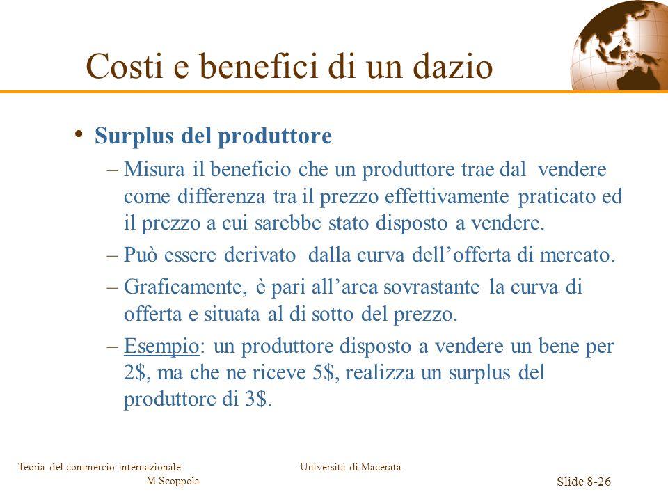 Università di Macerata Slide 8-26 Teoria del commercio internazionale M.Scoppola Surplus del produttore –Misura il beneficio che un produttore trae da