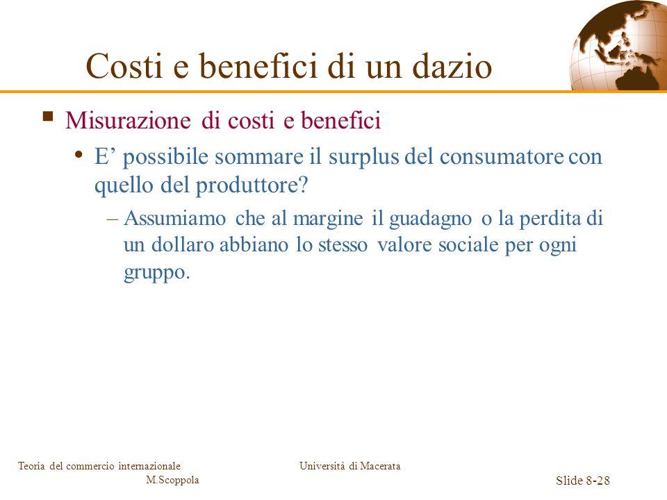 Università di Macerata Slide 8-28 Teoria del commercio internazionale M.Scoppola Costi e benefici di un dazio Misurazione di costi e benefici E possib