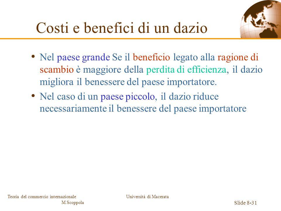 Università di Macerata Slide 8-31 Teoria del commercio internazionale M.Scoppola Nel paese grande Se il beneficio legato alla ragione di scambio è mag