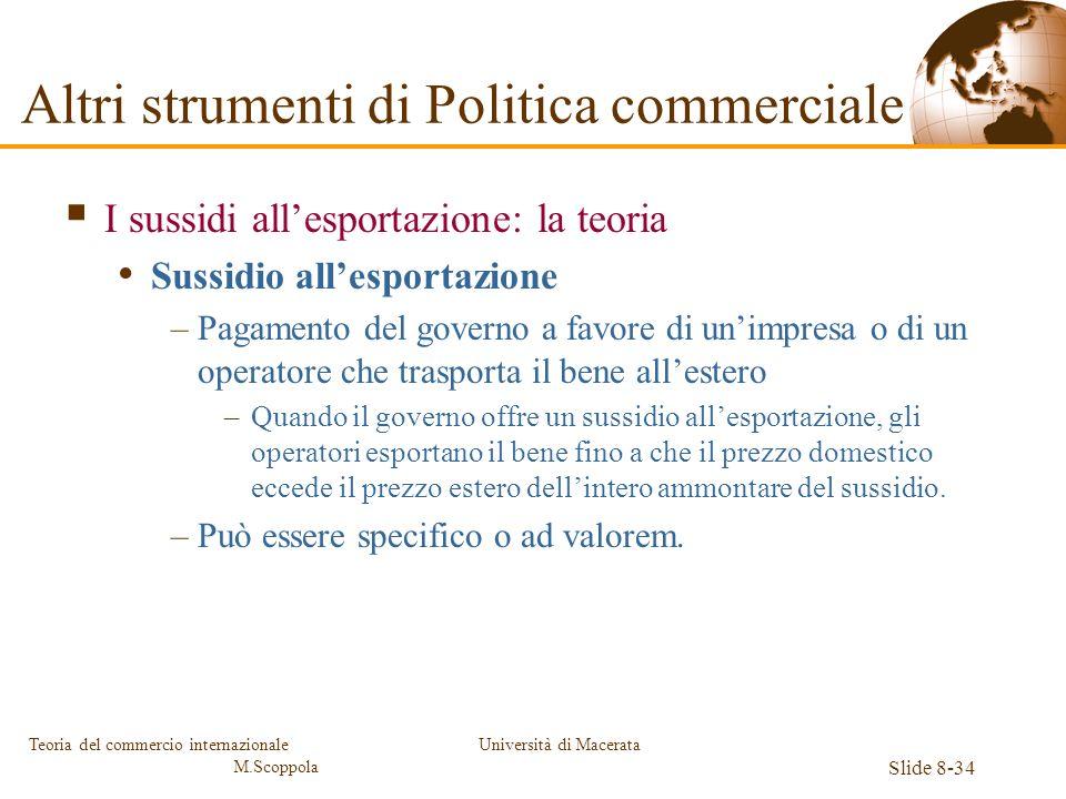 Università di Macerata Slide 8-34 Teoria del commercio internazionale M.Scoppola I sussidi allesportazione: la teoria Sussidio allesportazione –Pagame