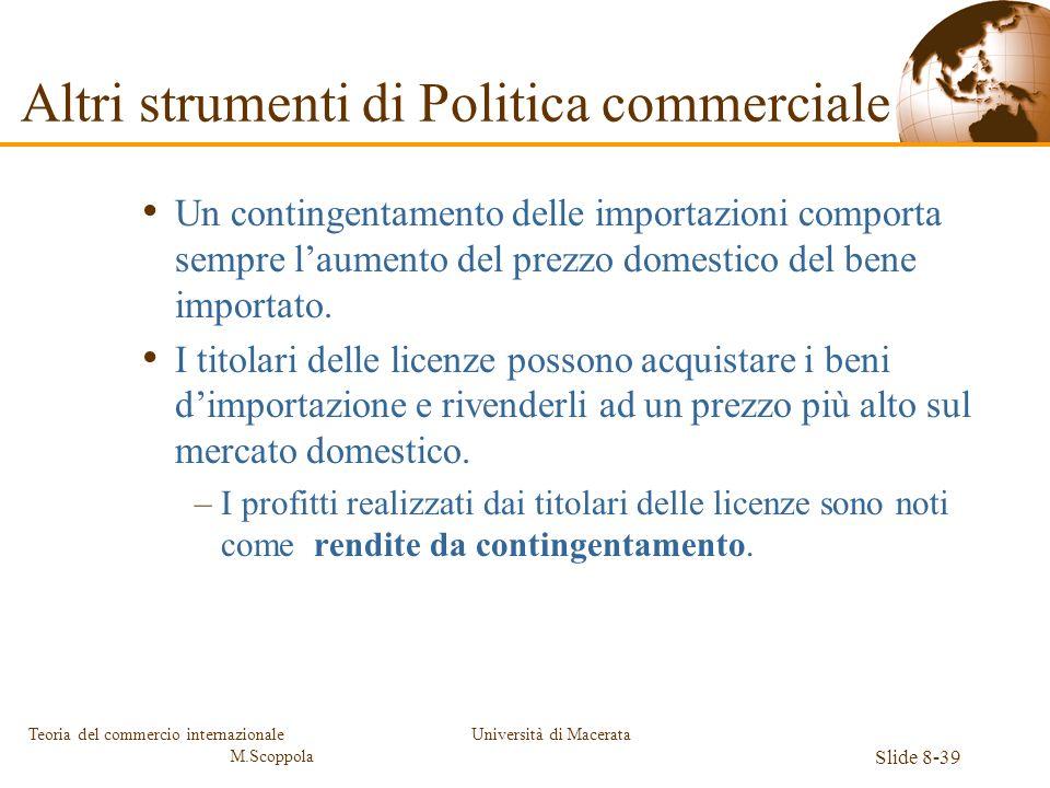 Università di Macerata Slide 8-39 Teoria del commercio internazionale M.Scoppola Un contingentamento delle importazioni comporta sempre laumento del p