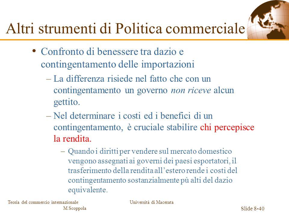 Università di Macerata Slide 8-40 Teoria del commercio internazionale M.Scoppola Confronto di benessere tra dazio e contingentamento delle importazion