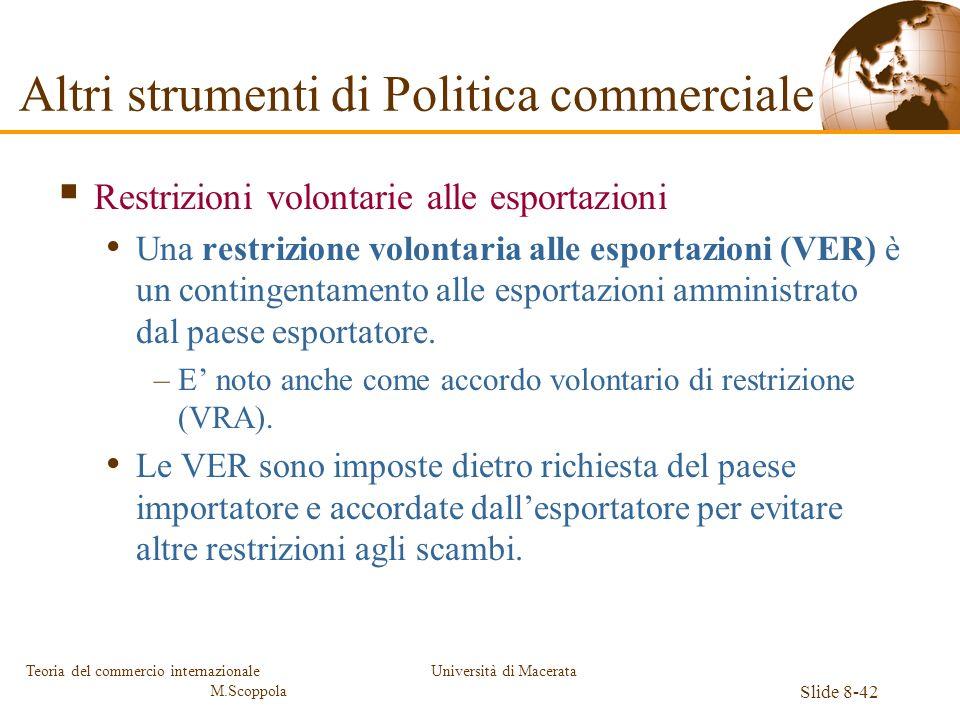 Università di Macerata Slide 8-42 Teoria del commercio internazionale M.Scoppola Restrizioni volontarie alle esportazioni Una restrizione volontaria a