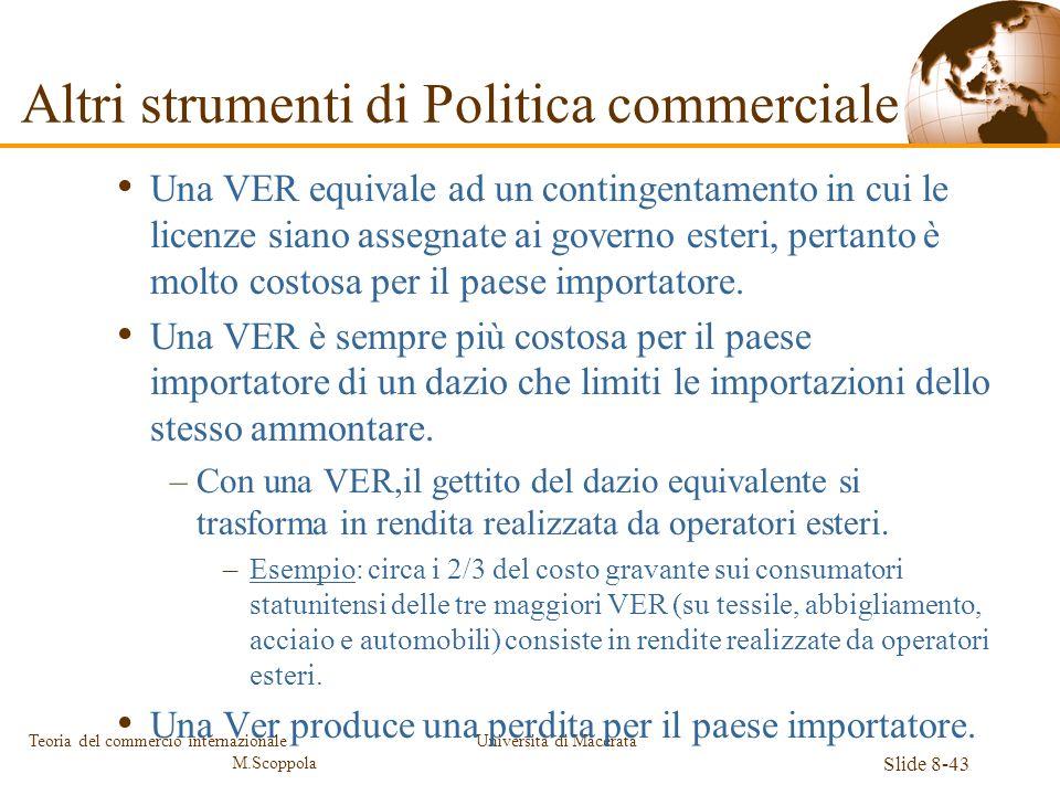 Università di Macerata Slide 8-43 Teoria del commercio internazionale M.Scoppola Una VER equivale ad un contingentamento in cui le licenze siano asseg