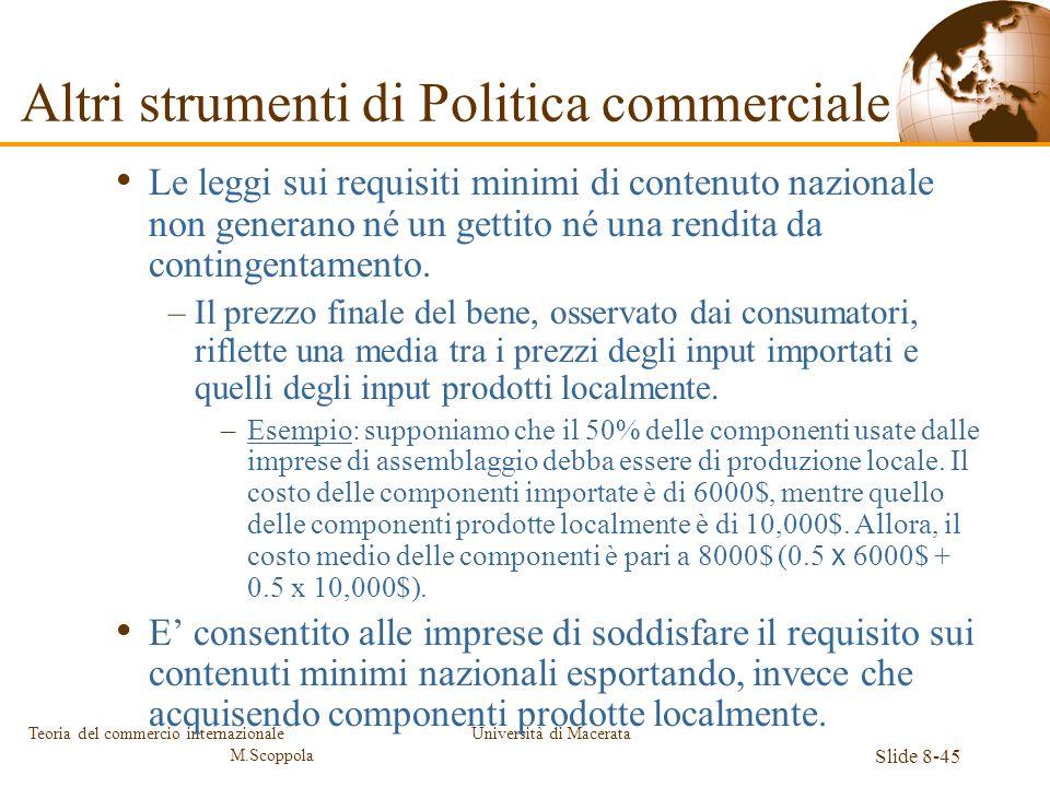 Università di Macerata Slide 8-45 Teoria del commercio internazionale M.Scoppola Le leggi sui requisiti minimi di contenuto nazionale non generano né