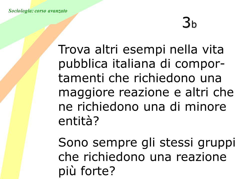 Sociologia: corso avanzato 3b3b3b3b Trova altri esempi nella vita pubblica italiana di compor- tamenti che richiedono una maggiore reazione e altri che ne richiedono una di minore entità.