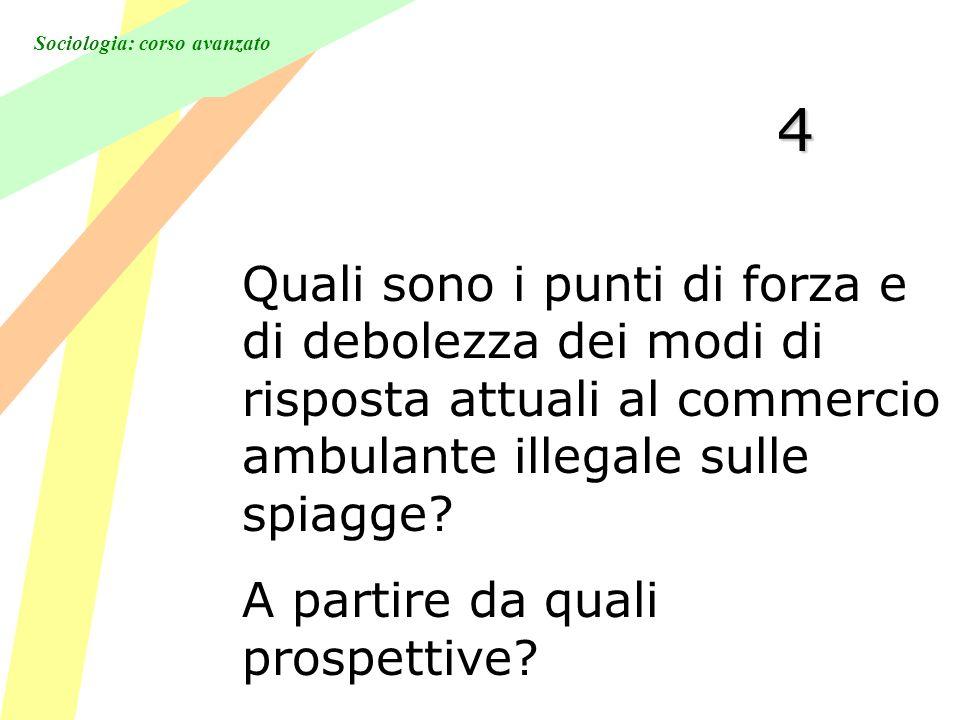 Sociologia: corso avanzato 4 Quali sono i punti di forza e di debolezza dei modi di risposta attuali al commercio ambulante illegale sulle spiagge.