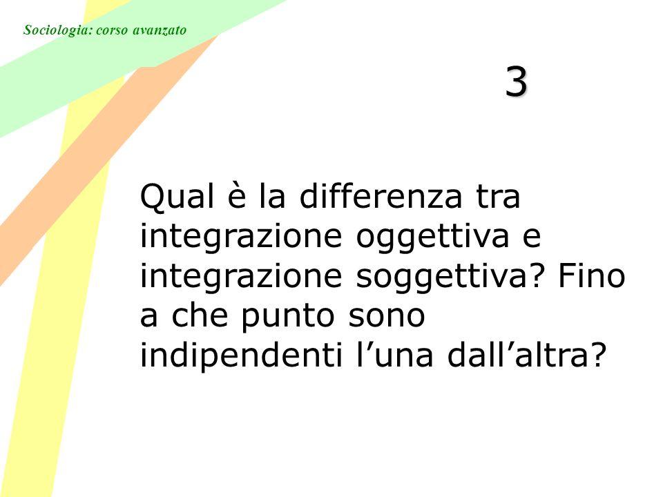 Sociologia: corso avanzato 3 Qual è la differenza tra integrazione oggettiva e integrazione soggettiva.