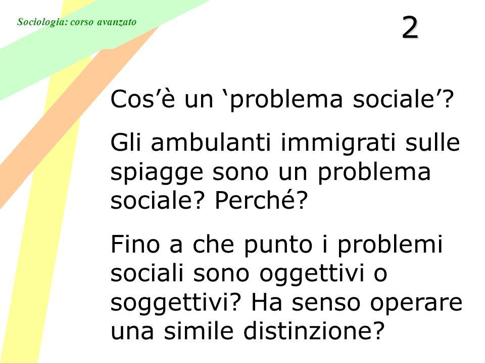 Sociologia: corso avanzato2 Cosè un problema sociale.