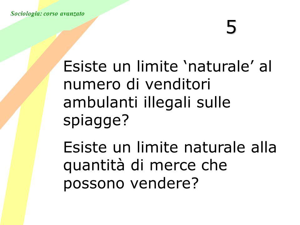 Sociologia: corso avanzato 5 Esiste un limite naturale al numero di venditori ambulanti illegali sulle spiagge.