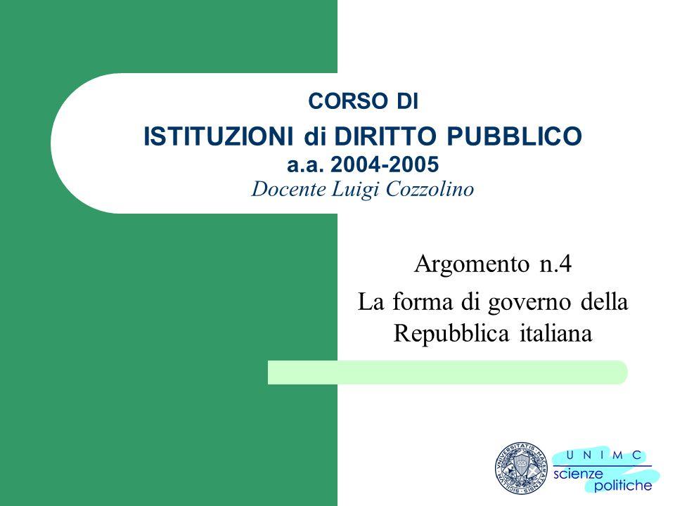 CORSO DI ISTITUZIONI di DIRITTO PUBBLICO a.a. 2004-2005 Docente Luigi Cozzolino Argomento n.4 La forma di governo della Repubblica italiana