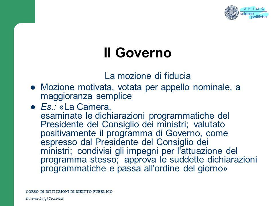 CORSO DI ISTITUZIONI DI DIRITTO PUBBLICO Docente Luigi Cozzolino Il Governo La mozione di fiducia Mozione motivata, votata per appello nominale, a mag