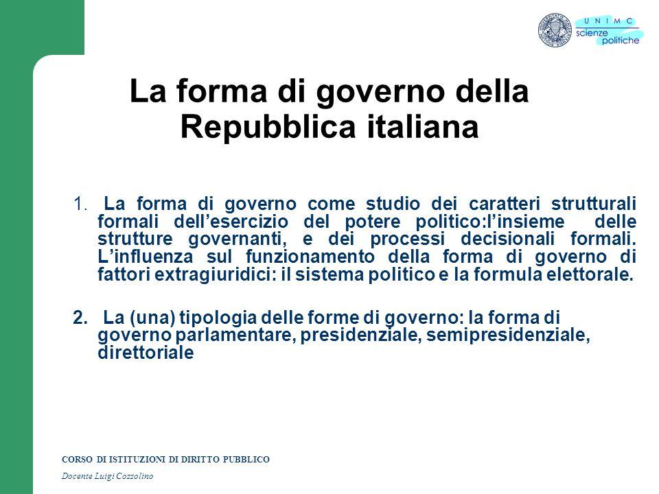 CORSO DI ISTITUZIONI DI DIRITTO PUBBLICO Docente Luigi Cozzolino La forma di governo della Repubblica italiana 1. La forma di governo come studio dei