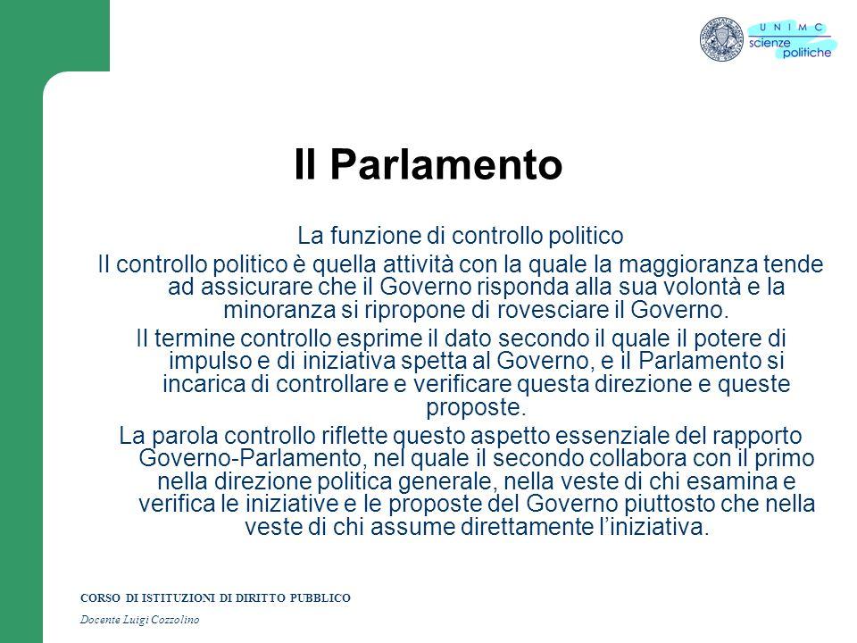 CORSO DI ISTITUZIONI DI DIRITTO PUBBLICO Docente Luigi Cozzolino Il Parlamento La funzione di controllo politico Il controllo politico è quella attivi