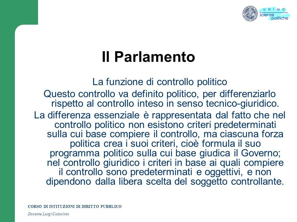 CORSO DI ISTITUZIONI DI DIRITTO PUBBLICO Docente Luigi Cozzolino Il Parlamento La funzione di controllo politico Questo controllo va definito politico