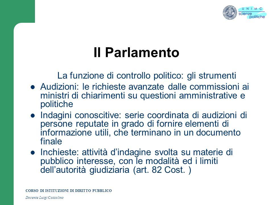 CORSO DI ISTITUZIONI DI DIRITTO PUBBLICO Docente Luigi Cozzolino Il Parlamento La funzione di controllo politico: gli strumenti Audizioni: le richiest