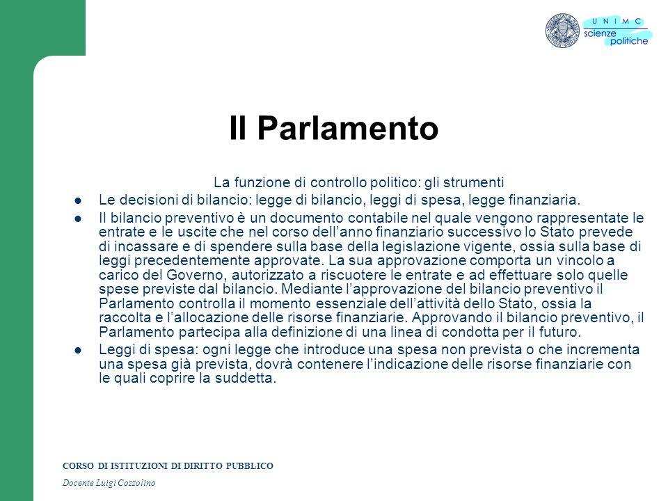 CORSO DI ISTITUZIONI DI DIRITTO PUBBLICO Docente Luigi Cozzolino Il Parlamento La funzione di controllo politico: gli strumenti Le decisioni di bilanc