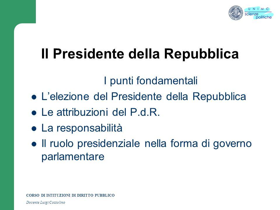 CORSO DI ISTITUZIONI DI DIRITTO PUBBLICO Docente Luigi Cozzolino Il Presidente della Repubblica I punti fondamentali Lelezione del Presidente della Re