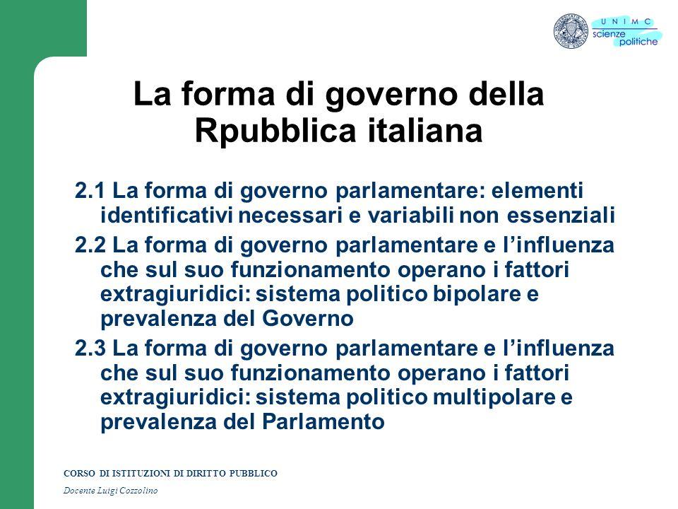 CORSO DI ISTITUZIONI DI DIRITTO PUBBLICO Docente Luigi Cozzolino La forma di governo della Repubblica ialiana 3.