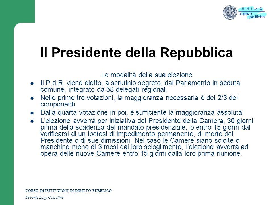 CORSO DI ISTITUZIONI DI DIRITTO PUBBLICO Docente Luigi Cozzolino Il Presidente della Repubblica Le modalità della sua elezione Il P.d.R. viene eletto,