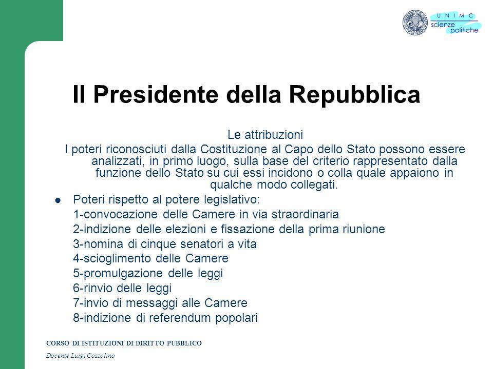 CORSO DI ISTITUZIONI DI DIRITTO PUBBLICO Docente Luigi Cozzolino Il Presidente della Repubblica Le attribuzioni I poteri riconosciuti dalla Costituzio