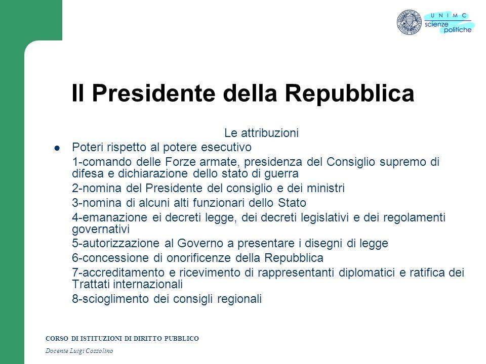 CORSO DI ISTITUZIONI DI DIRITTO PUBBLICO Docente Luigi Cozzolino Il Presidente della Repubblica Le attribuzioni Poteri rispetto al potere esecutivo 1-