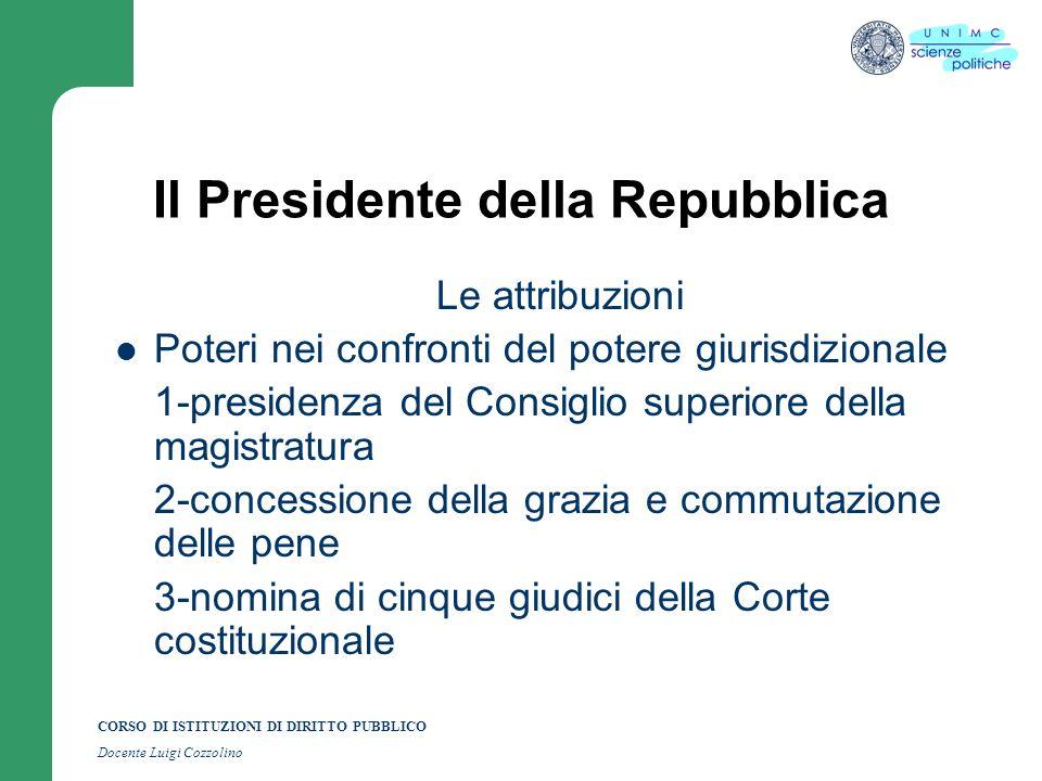 CORSO DI ISTITUZIONI DI DIRITTO PUBBLICO Docente Luigi Cozzolino Il Presidente della Repubblica Le attribuzioni Poteri nei confronti del potere giuris