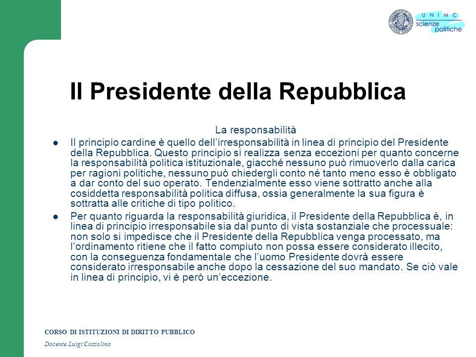 CORSO DI ISTITUZIONI DI DIRITTO PUBBLICO Docente Luigi Cozzolino Il Presidente della Repubblica La responsabilità Il principio cardine è quello dellir