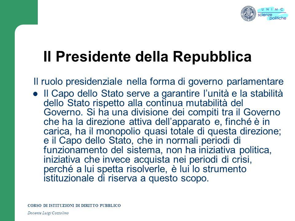 CORSO DI ISTITUZIONI DI DIRITTO PUBBLICO Docente Luigi Cozzolino Il Presidente della Repubblica Il ruolo presidenziale nella forma di governo parlamen