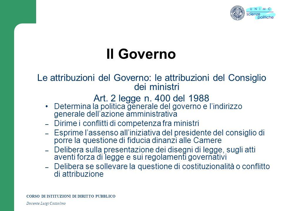 CORSO DI ISTITUZIONI DI DIRITTO PUBBLICO Docente Luigi Cozzolino Il Governo La formazione del Governo Art.