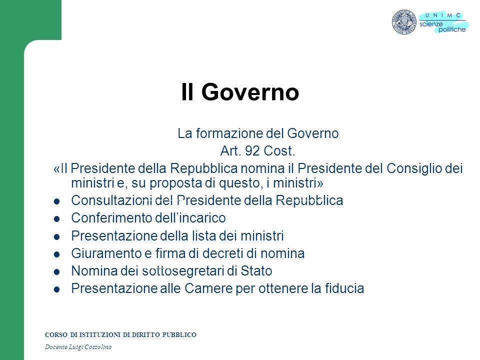 CORSO DI ISTITUZIONI DI DIRITTO PUBBLICO Docente Luigi Cozzolino Il Presidente della Repubblica Le modalità della sua elezione Il P.d.R.