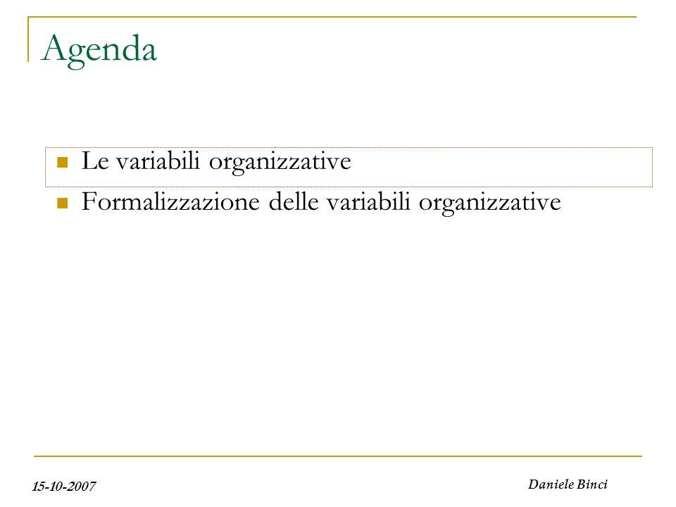 15-10-2007 Daniele Binci Le variabili organizzative La struttura organizzativa (dimensione orizzontale): Specializzazione degli organi in termini di diversità di funzioni attribuite.